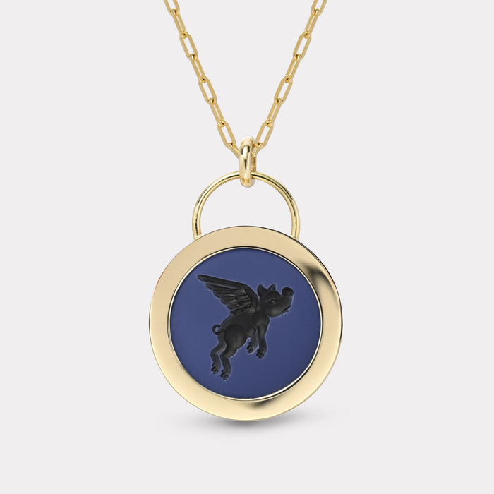Flying Pig Signature Padlock Intaglio - Double Layer Black Agate