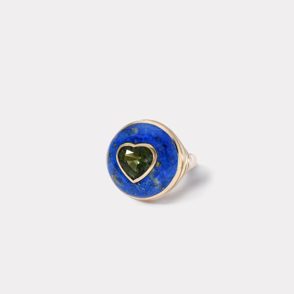 Petite Lollipop Ring - Green Tourmaline in Lapis