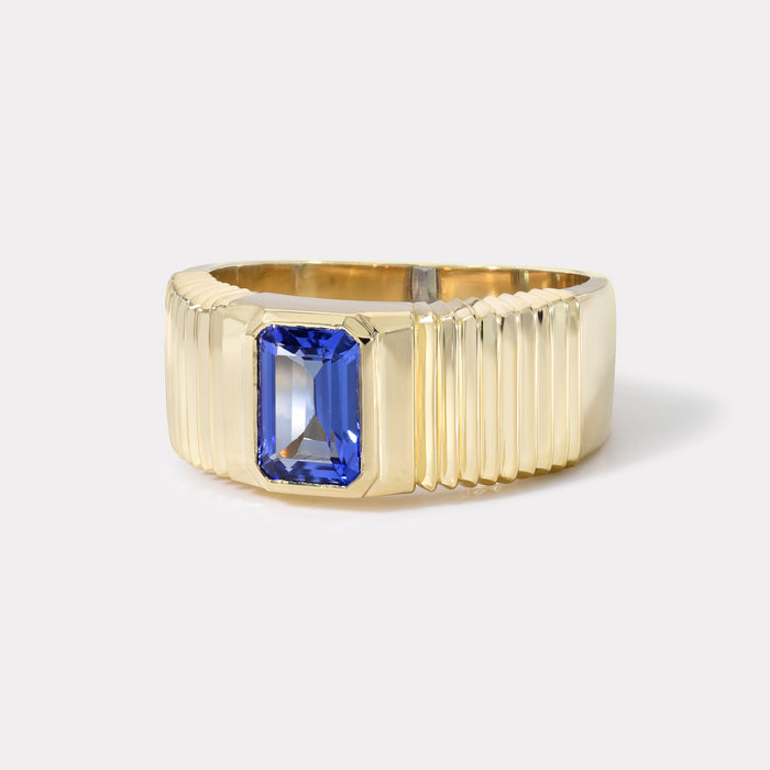 One of a kind Pleated Solitaire Band - Tanzanite