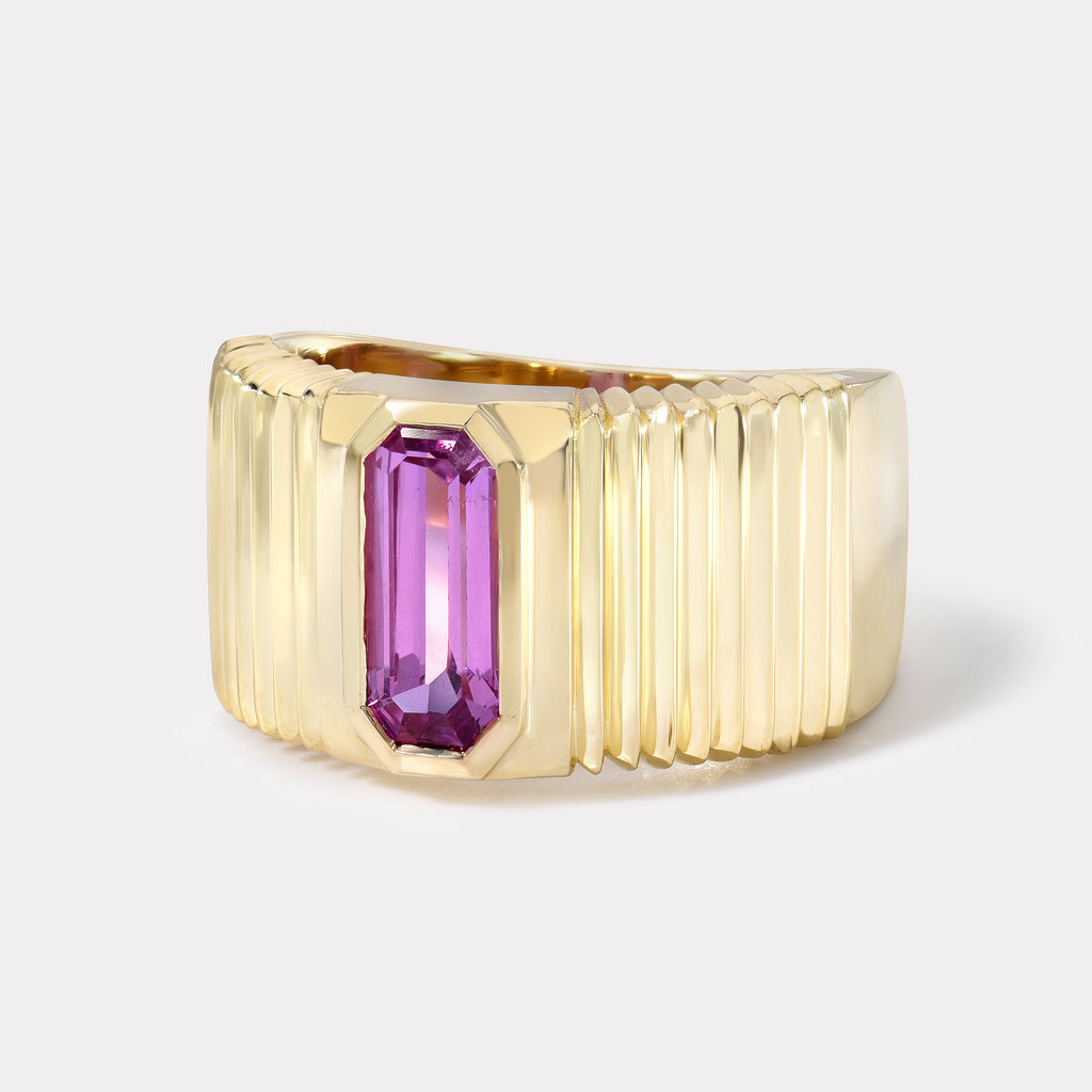 One of a kind Pleated Solitaire Band - Pink Sapphire