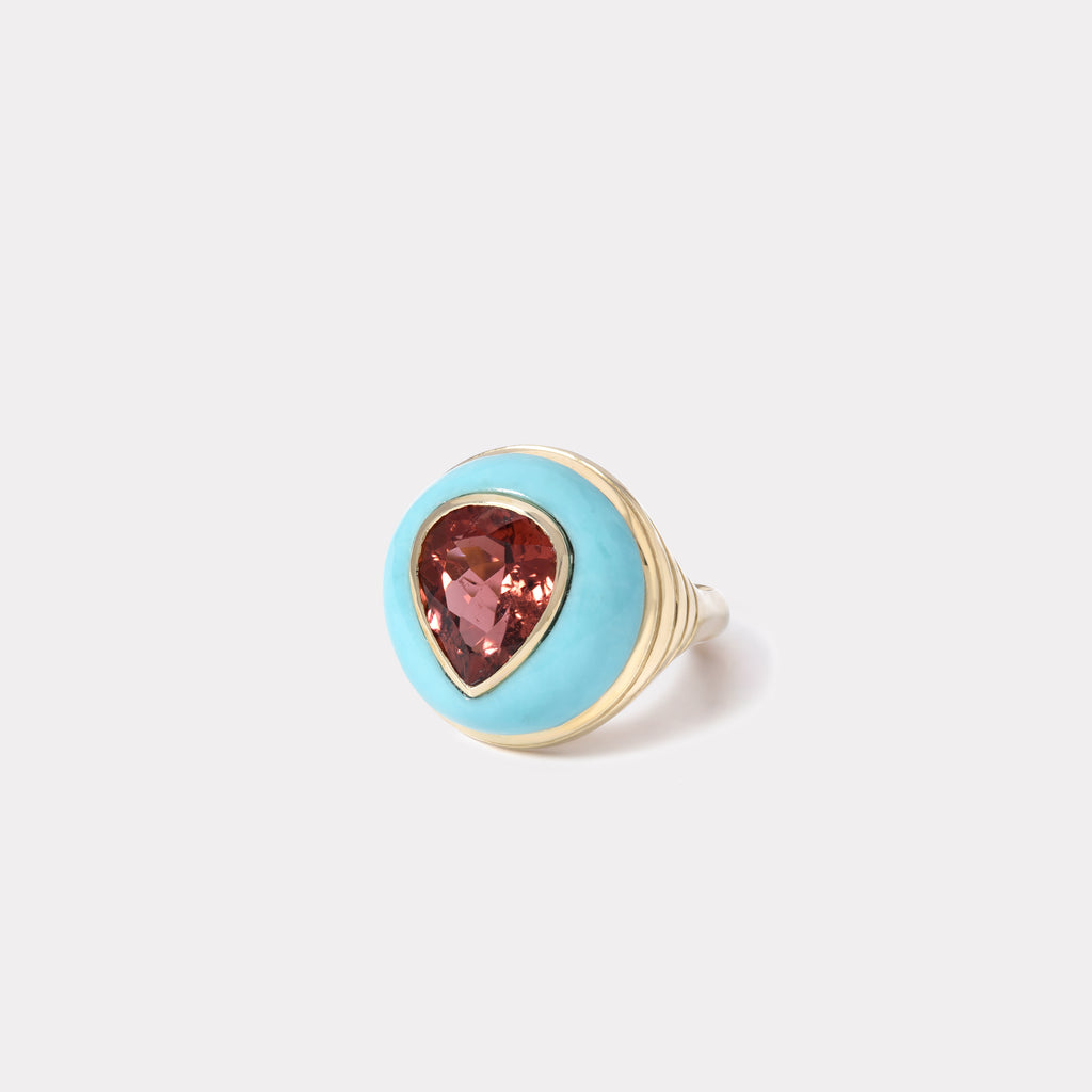 Petite Lollipop Ring - Cherry Tourmaline in Turquoise