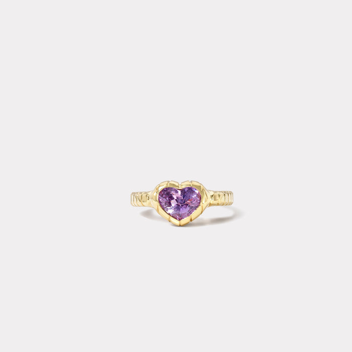 One of a kind Heirloom Bezel Violet Sapphire Ring
