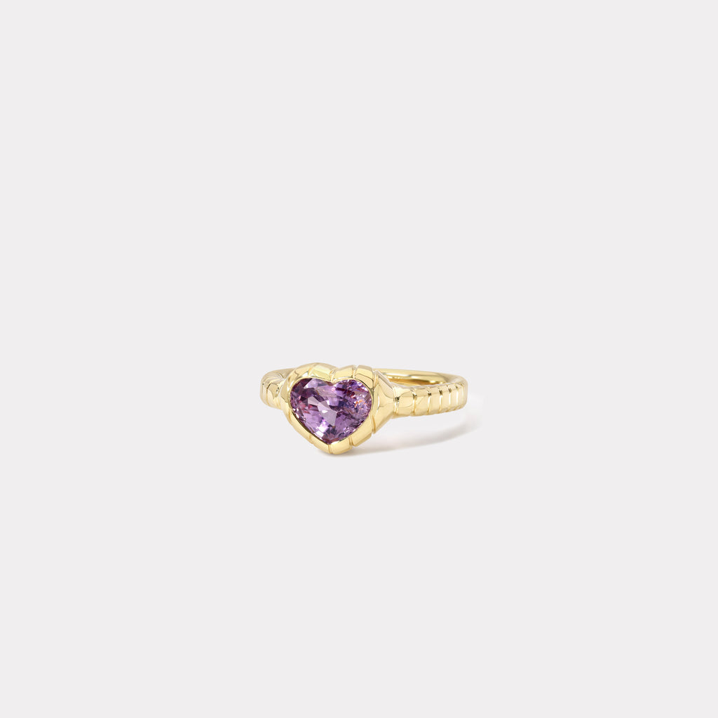 One of a kind Striped Bezel Violet Sapphire Ring