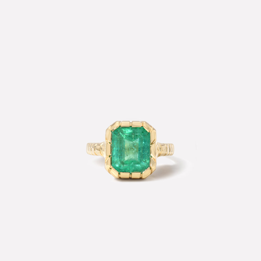 One of a kind Heirloom Bezel Emerald Ring