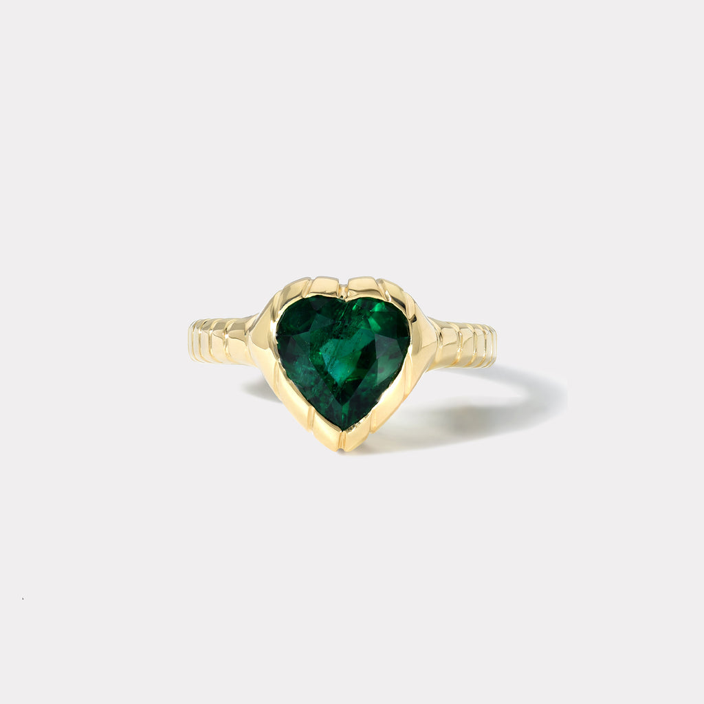 One of a kind Heirloom Bezel Heart Emerald Ring