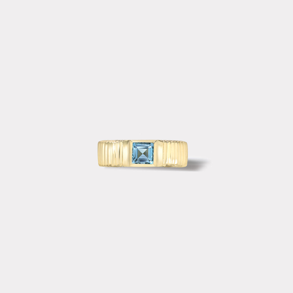 One of a kind Pleated Solitaire Ring - 0.48ct Carre Cut Aquamarine