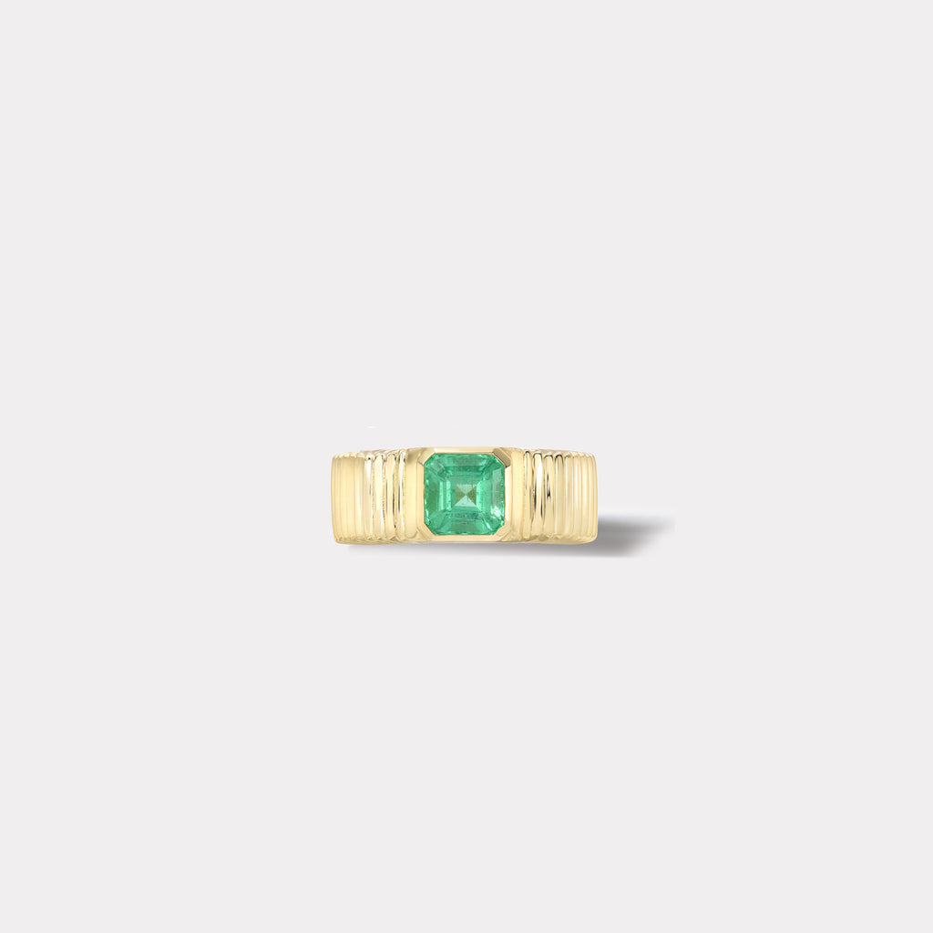 One of a kind Pleated Solitaire Band - 1.28ct Emerald
