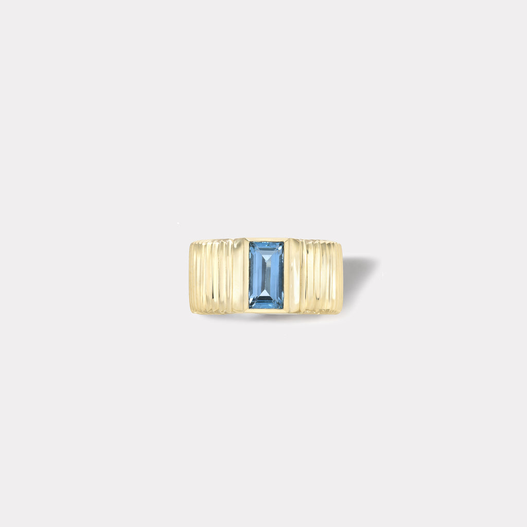 One of a kind Pleated Solitaire Ring - 0.93ct Baguette Cut Aquamarine