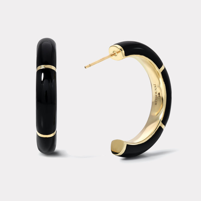 Black Onyx and Gold Inlay Hoops