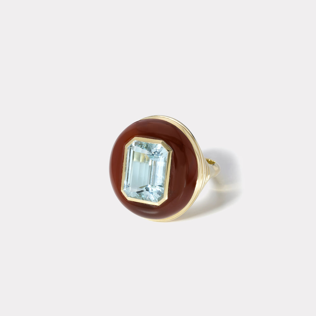 One of a Kind Lollipop Ring - Aquamarine in Carnelian