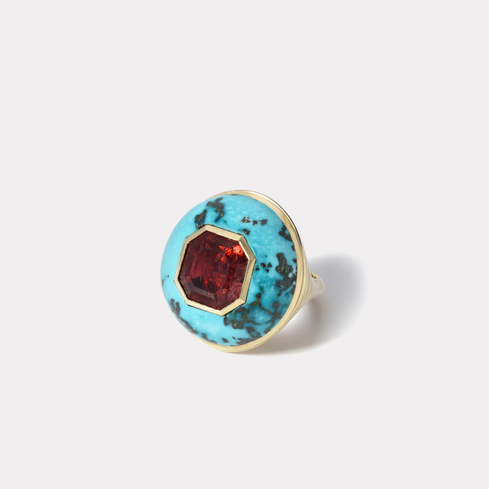 One of a kind Tourmaline and Turquoise Lollipop Ring