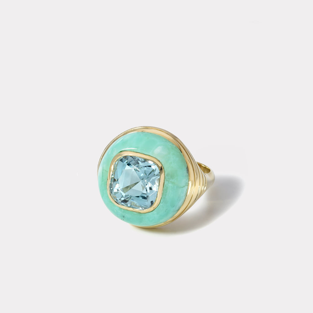One of a kind Aquamarine and Chrysoprase Lollipop Ring