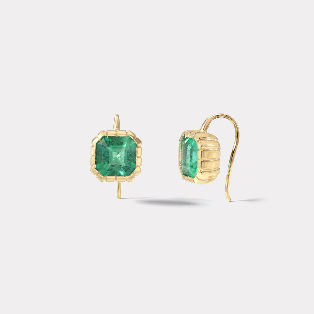 One of a Kind Striped Bezel Emerald Earrings