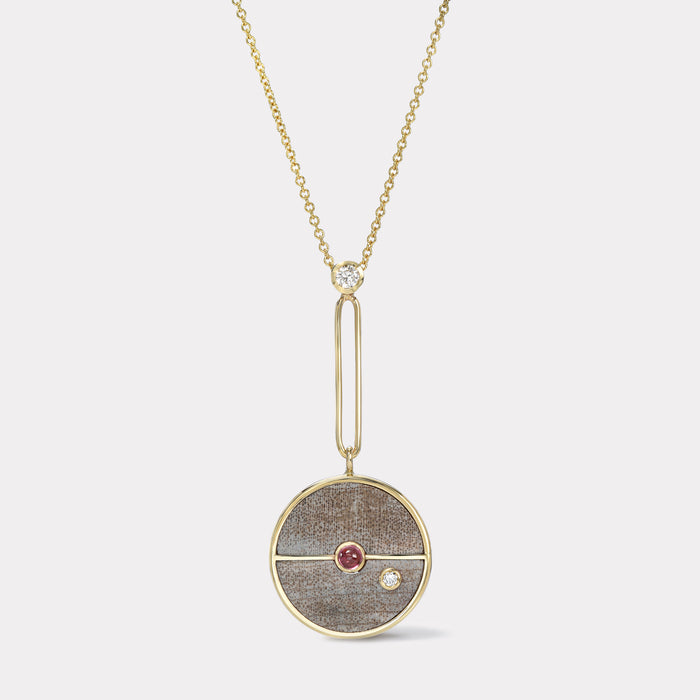 Signature Compass Pendant - Petrified Wood with Rhodolite Garnet