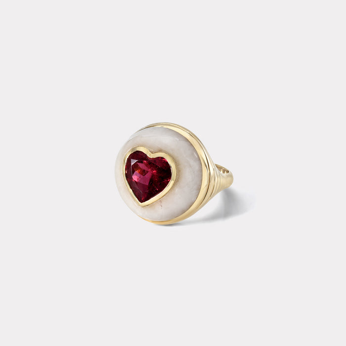 Petite Lollipop Ring - Rubellite Heart in White Quartz
