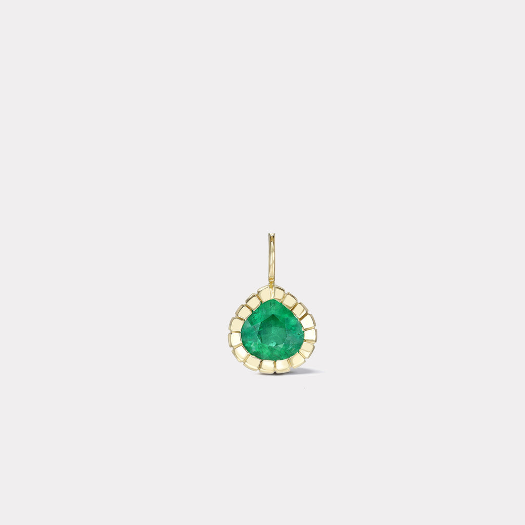One of a Kind Pear Shaped Emerald Heirloom Bezel Charm