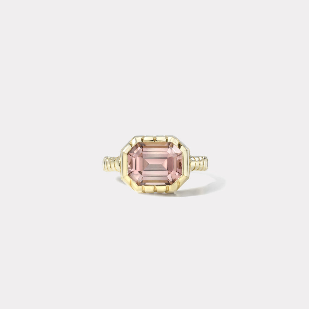 One of a kind Pink Tourmaline Heirloom Bezel Ring