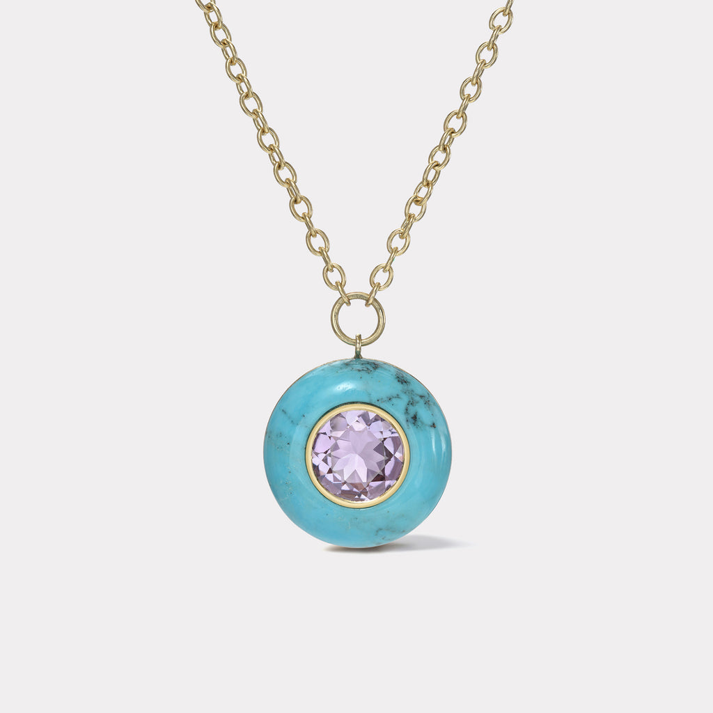Lollipop Pendant - 4.65ct Round Amethyst in Turquoise