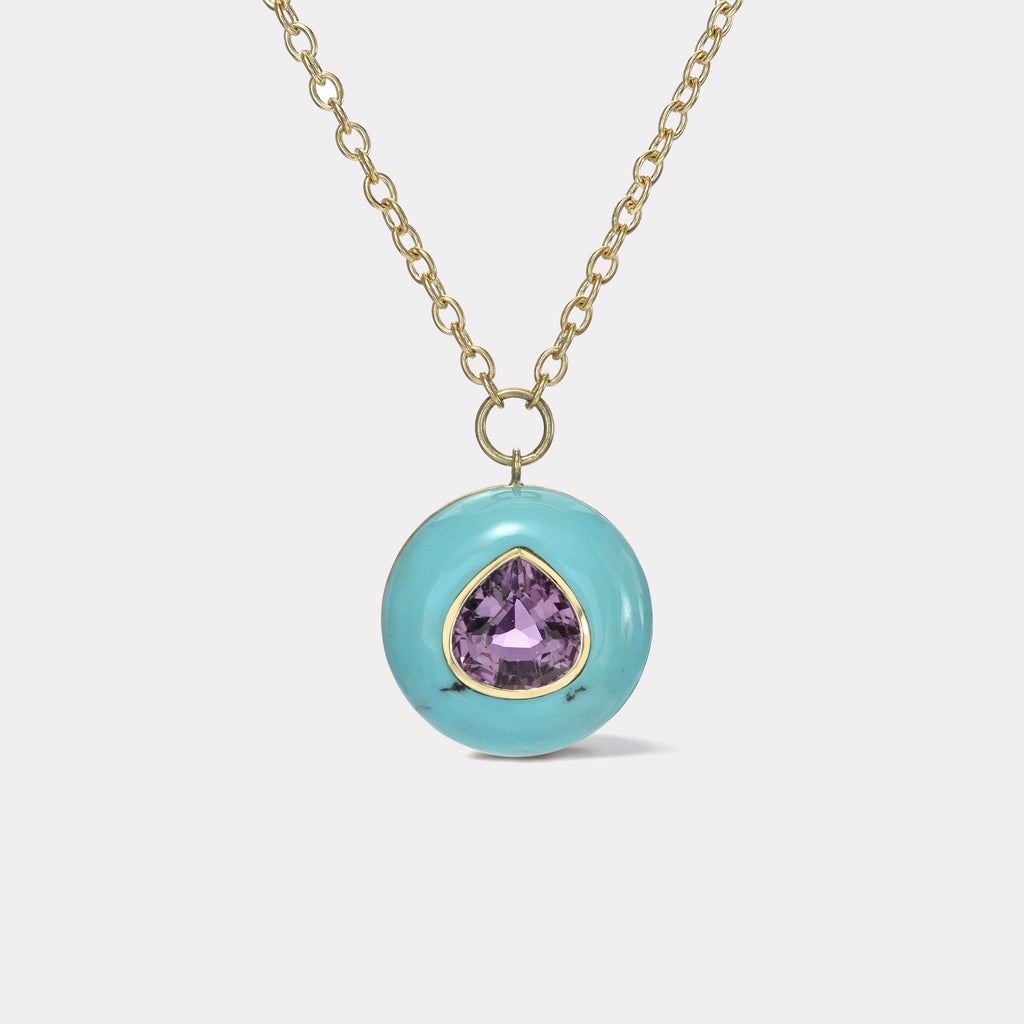 Lollipop Pendant - 5.3ct Pear shaped Amethyst in Turquoise