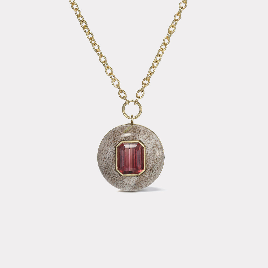 Lollipop Pendant - 6.25ct Emerald Cut Red Tourmaline in Petrified Wood