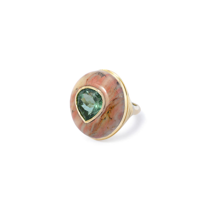 One of a Kind Lollipop Ring - Green Tourmaline in Jasper