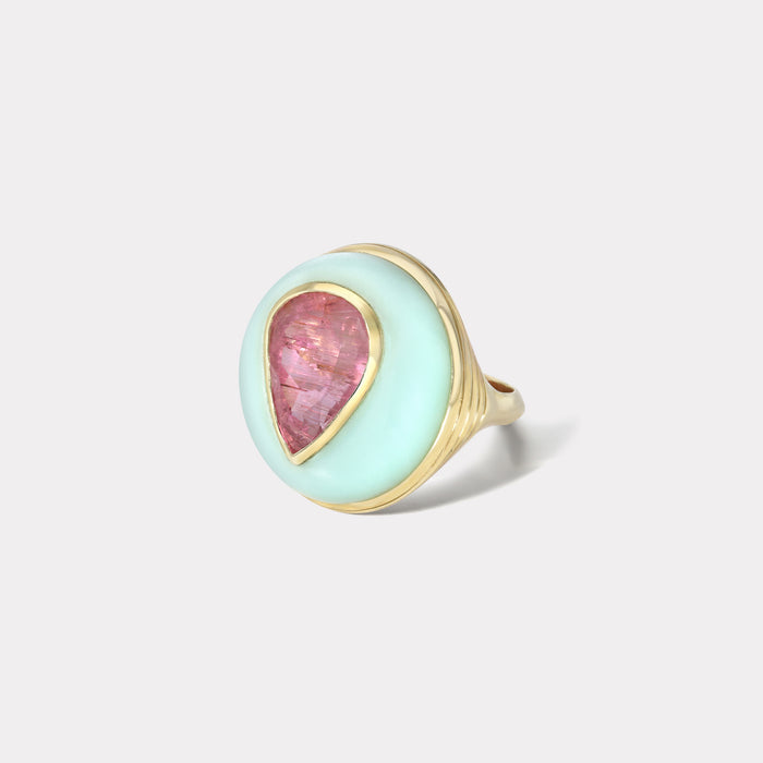 One of a Kind Lollipop Ring - Pear shaped Pink Tourmaline in Chrysoprase