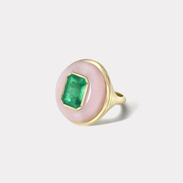 One of a Kind Lollipop Ring - Emerald in ink Opal