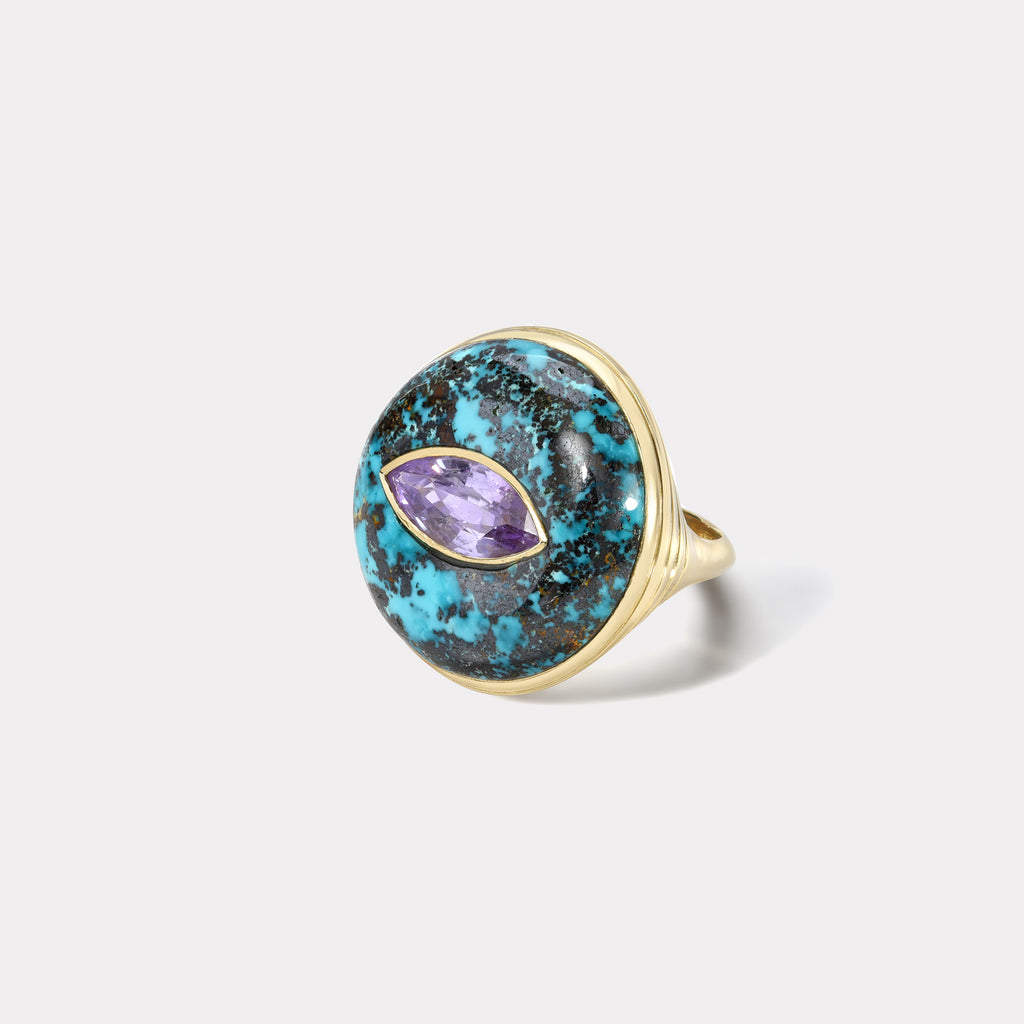One of a Kind Lollipop Ring - Marquise Purple Sapphire in Turquoise