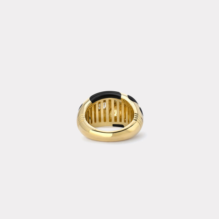 Black Onyx Polka Bombe Ring