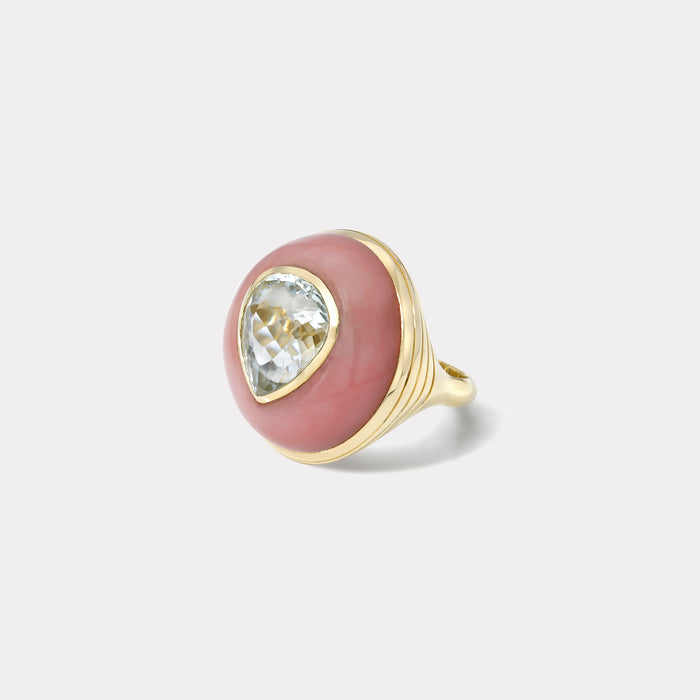 One of a Kind Lollipop Ring - Pear 7.29ct Aquamarine in Pink Opal