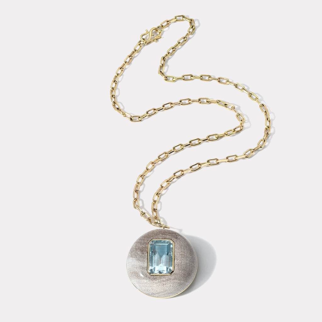 Lollipop Pendant - Aquamarine in Petrified Wood