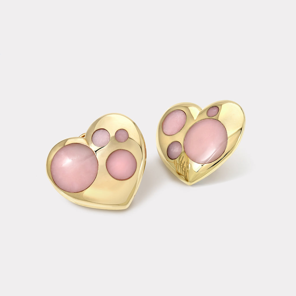 Polka Dot Oversized Heart Earrings - Pink Opal
