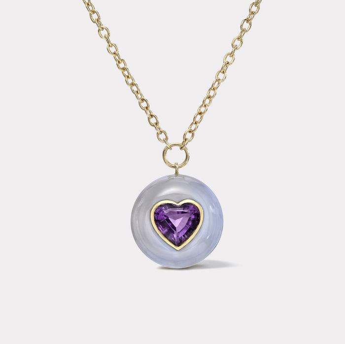 Lollipop Pendant -  5ct Heart Amethyst in Chalcedony