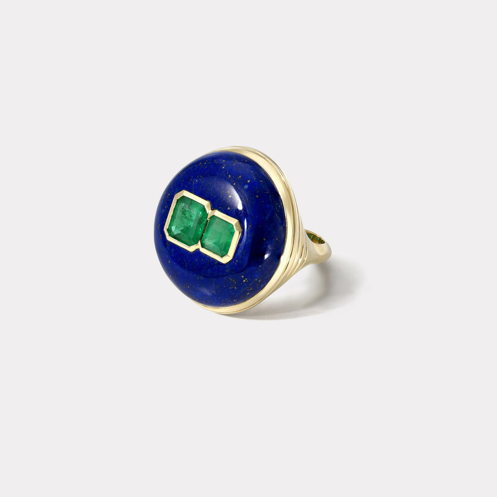 One of a Kind Lollipop Ring - Double Emeralds in Lapis