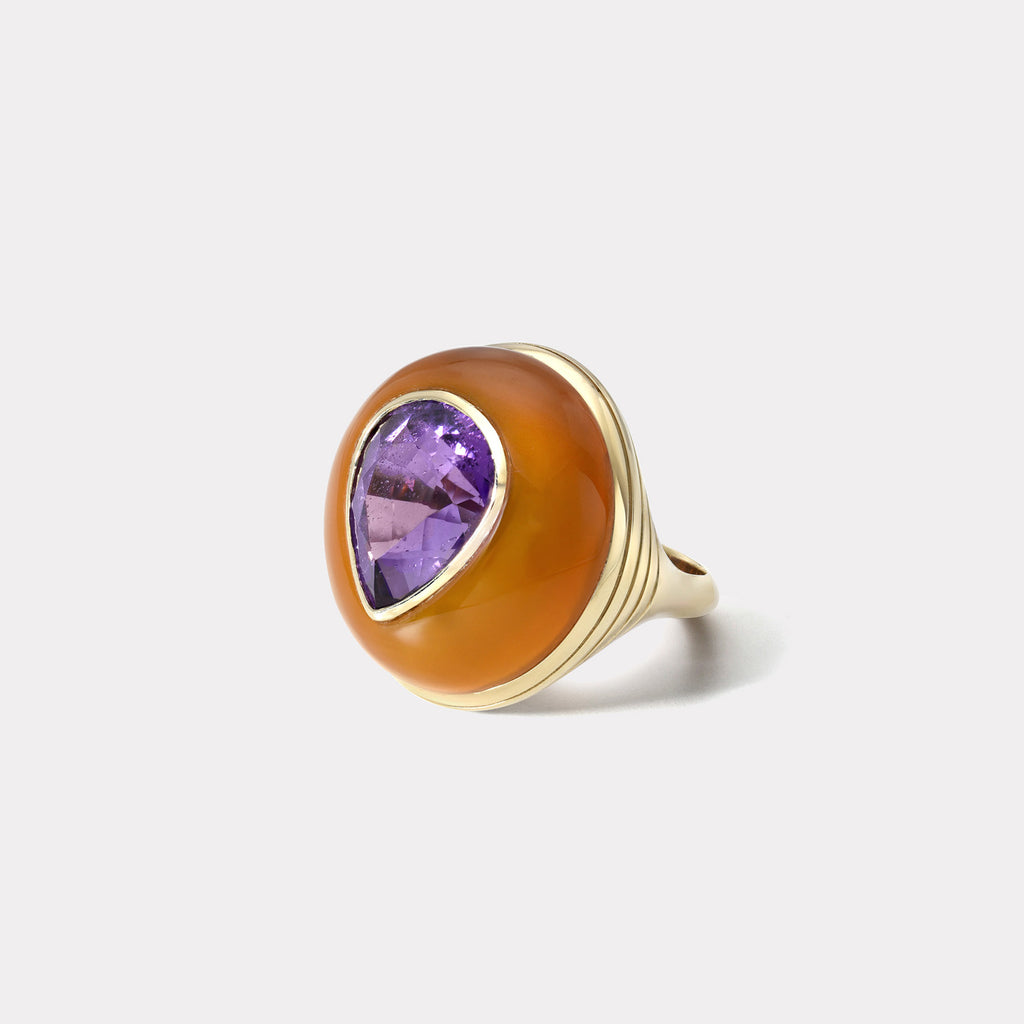One of a Kind Lollipop Ring - Pear Amethyst in Carnelian