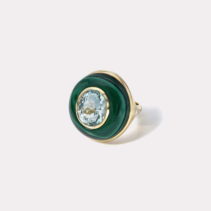 One of a Kind Lollipop Ring - Oval Aquamarine in Malachite