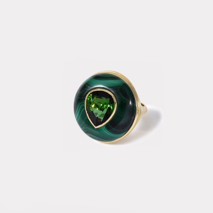 One of a Kind Lollipop Ring - Pear Green Tourmaline in Malachite
