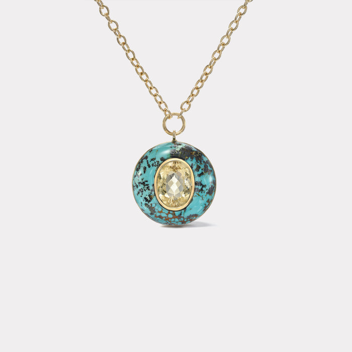 Lollipop Pendant - 5.39ct Oval Butter Tourmaline in Turquoise