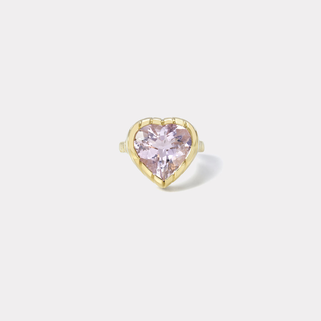 One of a kind Heirloom Bezel 7.89ct Morganite Heart Ring