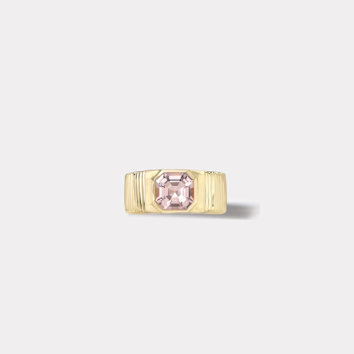 One of a kind Pleated Solitaire Ring - 2.31ct Asscher Cut Morganite