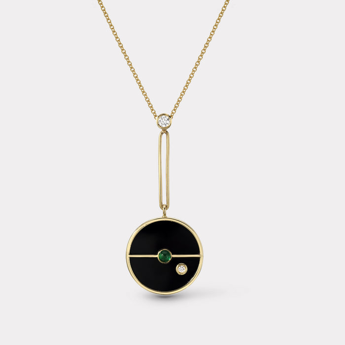 Signature Compass Pendant - Black Onyx with Emerald