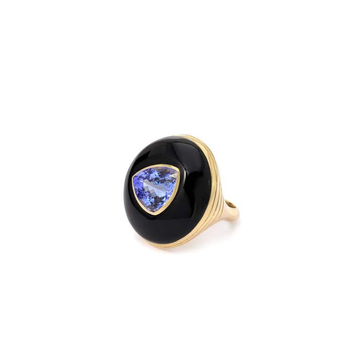 One of a Kind Lollipop Ring - Triangle Tanzanite in Onyx