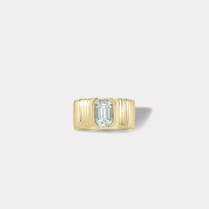 One of a kind Pleated Solitaire Ring - 2.15ct Emerald Cut Tourmaline