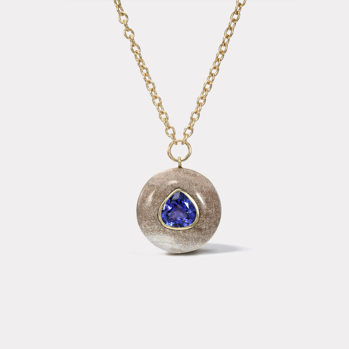 Lollipop Pendant - Pear Tanzanite in Petrified Wood