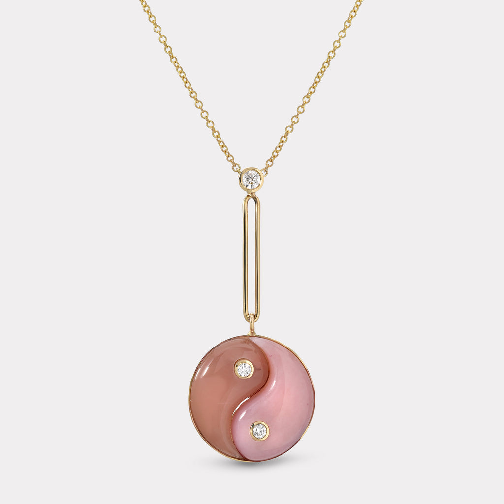 Double Stone Yin Yang Pendant - Pink Opal and Guava Quartz