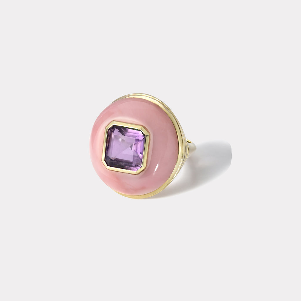 One of a Kind Lollipop Ring - Amethyst in Pink Opal