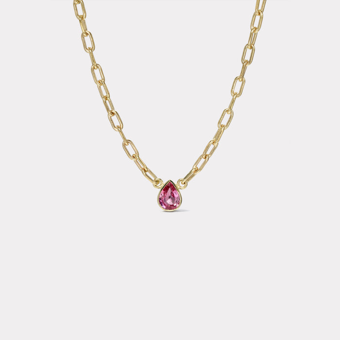 One of a Kind 1.31ct pear shaped Pink Sapphire Pendant