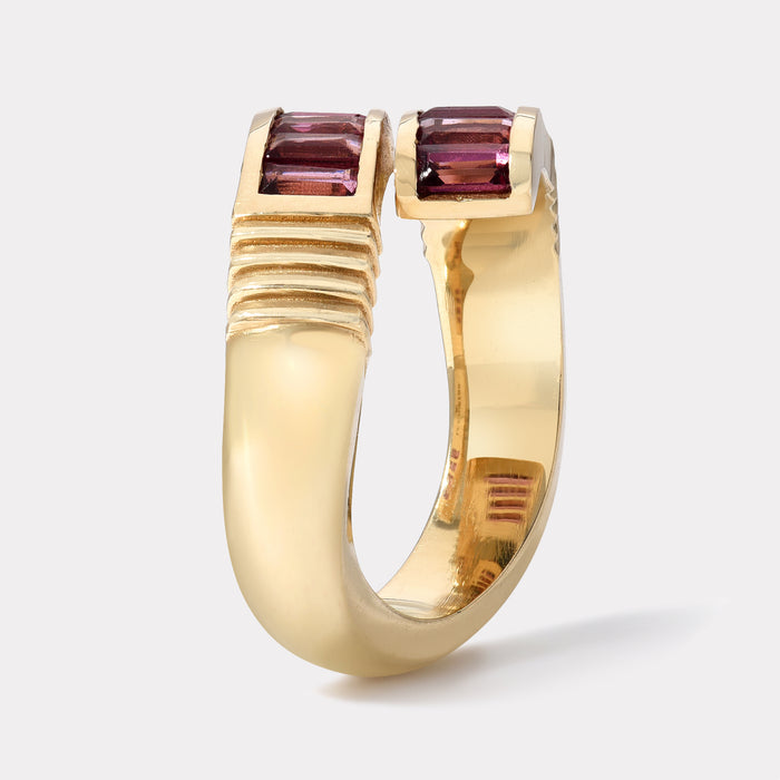 Baguette Wrap Ring - Purple Garnet