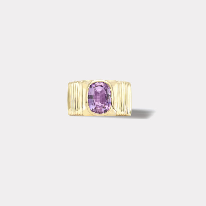 One of a kind Pleated Solitaire Band - 2.41ct Cushion Pale Pink Sapphire