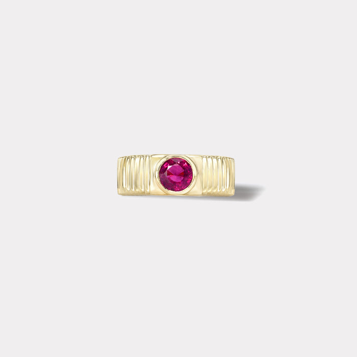 One of a kind Pleated Solitaire Band - 0.86ct Round Hot Pink Sapphire